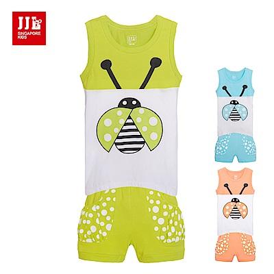 JJLKIDS 可愛瓢蟲休閒無袖二件式套裝(3色)