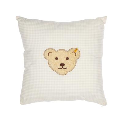 STEIFF德國金耳釦泰迪熊 - 嬰幼兒 枕頭 靠枕 黃色格紋 40x40cm