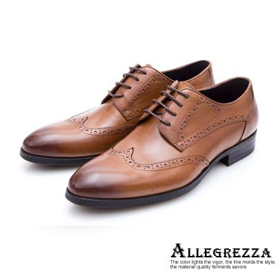 ALLEGREZZA-真皮男鞋-品味流露-藝紋雕花綁帶尖頭牛津鞋 焦糖色