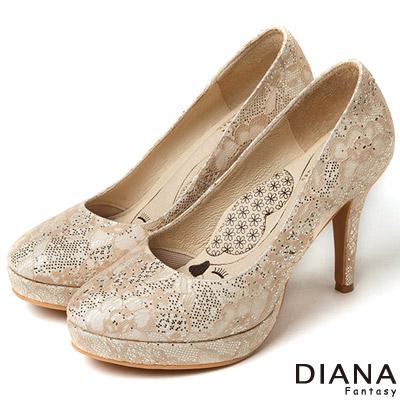 DIANA 漫步雲端LADY款--法式蕾絲晚宴跟鞋-米
