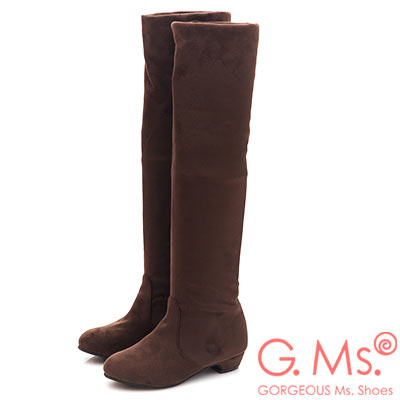 G.Ms. 2WAY顯瘦貼腿麂絨布過膝長靴-咖啡