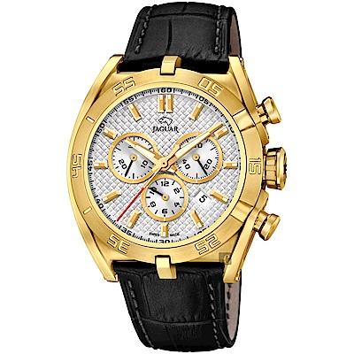 JAGUAR積架 EXECUTIVE 極速計時手錶-銀x金框/45.8mm