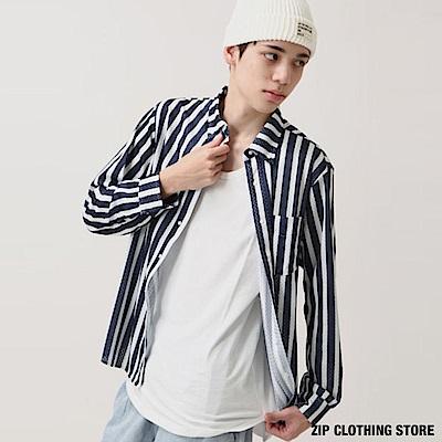 休閒條紋長袖襯衫(2色) ZIP日本男裝