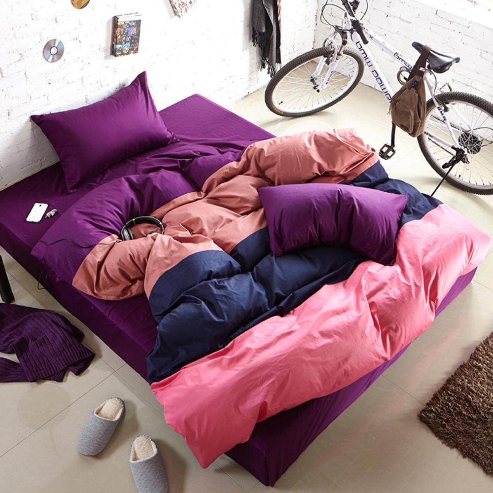 Aileen-撞色糖果雙人四件式被套床包組-黑佳麗軟糖