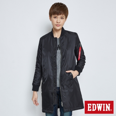 EDWIN 長版MA1防寒外套-女-黑色