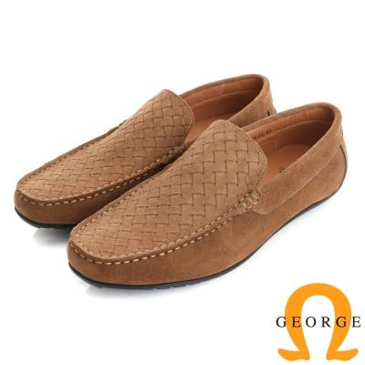 GEORGE 喬治-真皮編織樂福鞋休閒鞋(男)-棕色