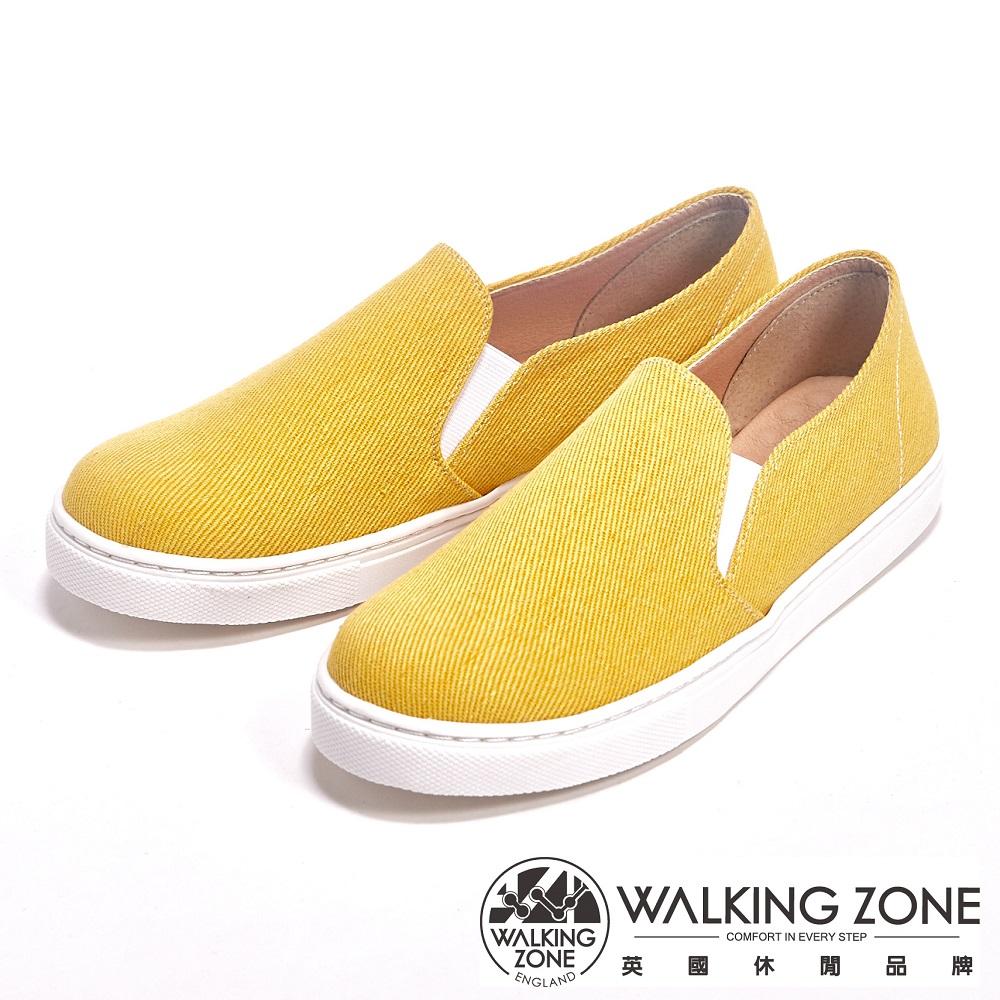 WALKING ZONE 輕便百撘直套平底休閒女鞋-黃