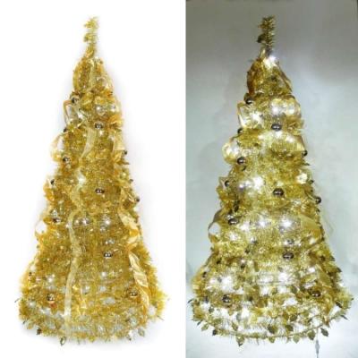 6尺(180cm) 浪漫彈簧摺疊聖誕樹(雙金色系)(內含一LED100燈串)