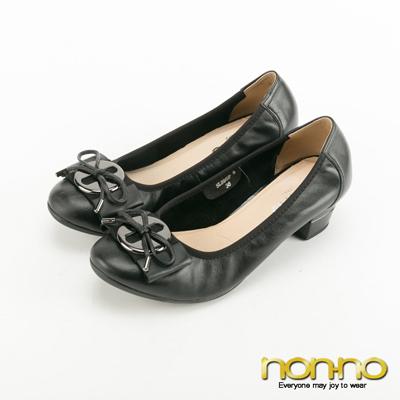 nonno-銅板扣環蝴蝶結低跟娃娃鞋-黑