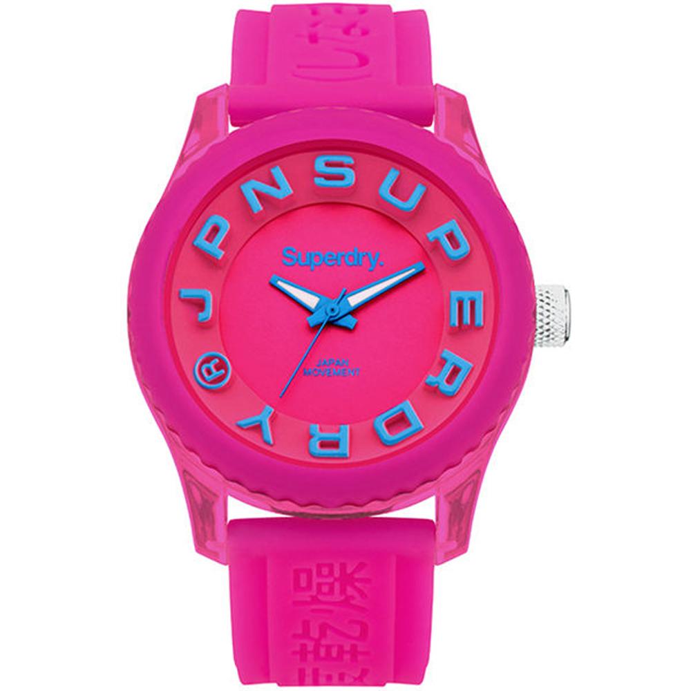 Superdry極度乾燥Tokyo休閒潮流時尚腕錶-桃紅X藍/38mm