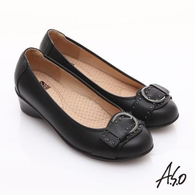 A.S.O 舒適通勤 真皮鉚釘皮帶飾扣奈米楔型跟鞋 黑