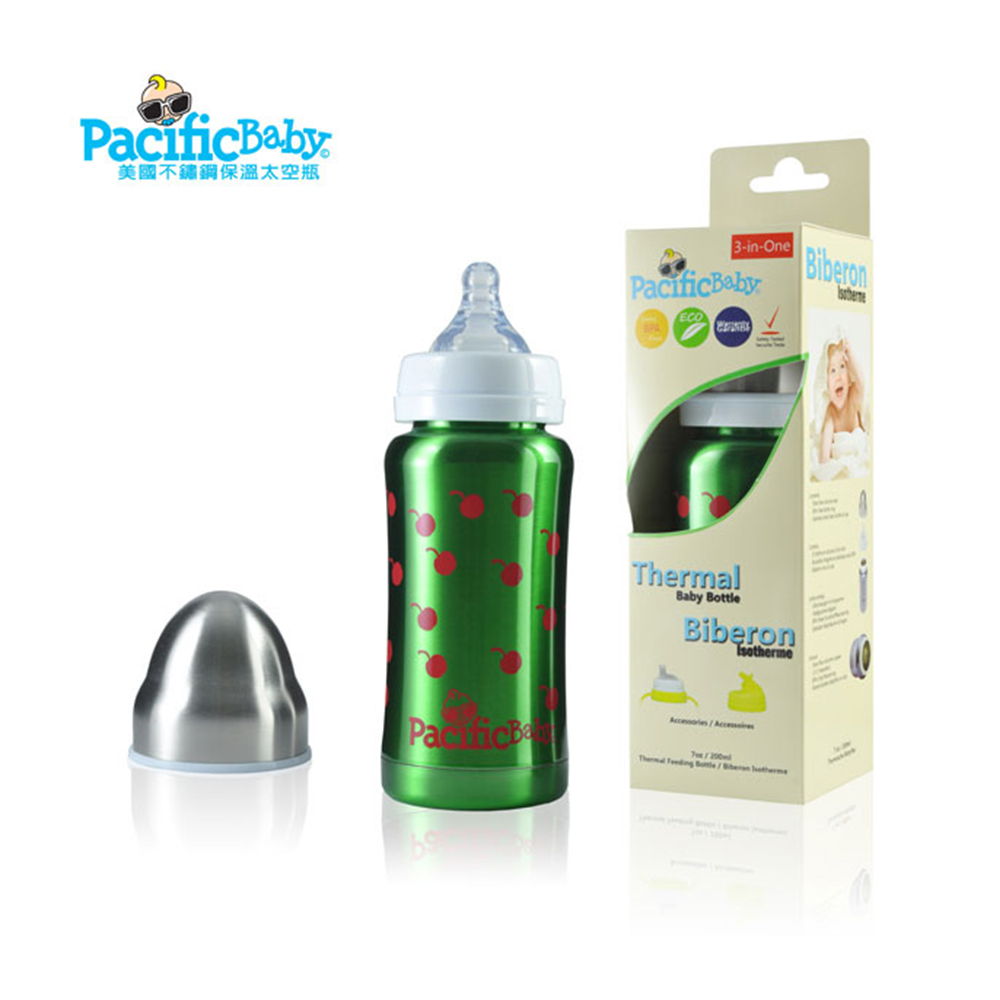 Pacific Baby 美國不鏽鋼奶瓶7oz (健康綠)