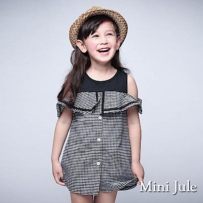 Mini Jule 童裝-洋裝 格紋翻領露肩短袖洋裝(黑)