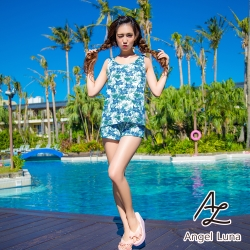 【AngelLuna日本泳裝】Y字造型背心短褲四件式比基尼泳衣-綠色印花