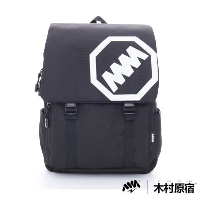 木村原宿MM-大LOGO雙排袋扣學院筆電後背包-中黑