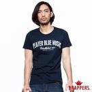 BRAPPERS 男款 英文拼接純棉圓領短袖T恤-丈青