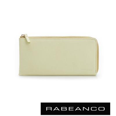 RABEANCO 歐系經典單拉鍊長夾 淡黃色