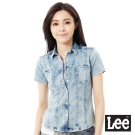Lee 牛仔短袖襯衫-女-藍