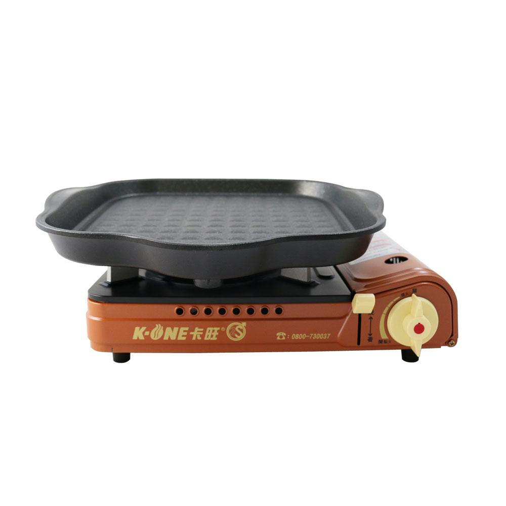 卡旺K1-A001D雙安全卡式爐+韓國HANARO火烤兩用方形烤盤