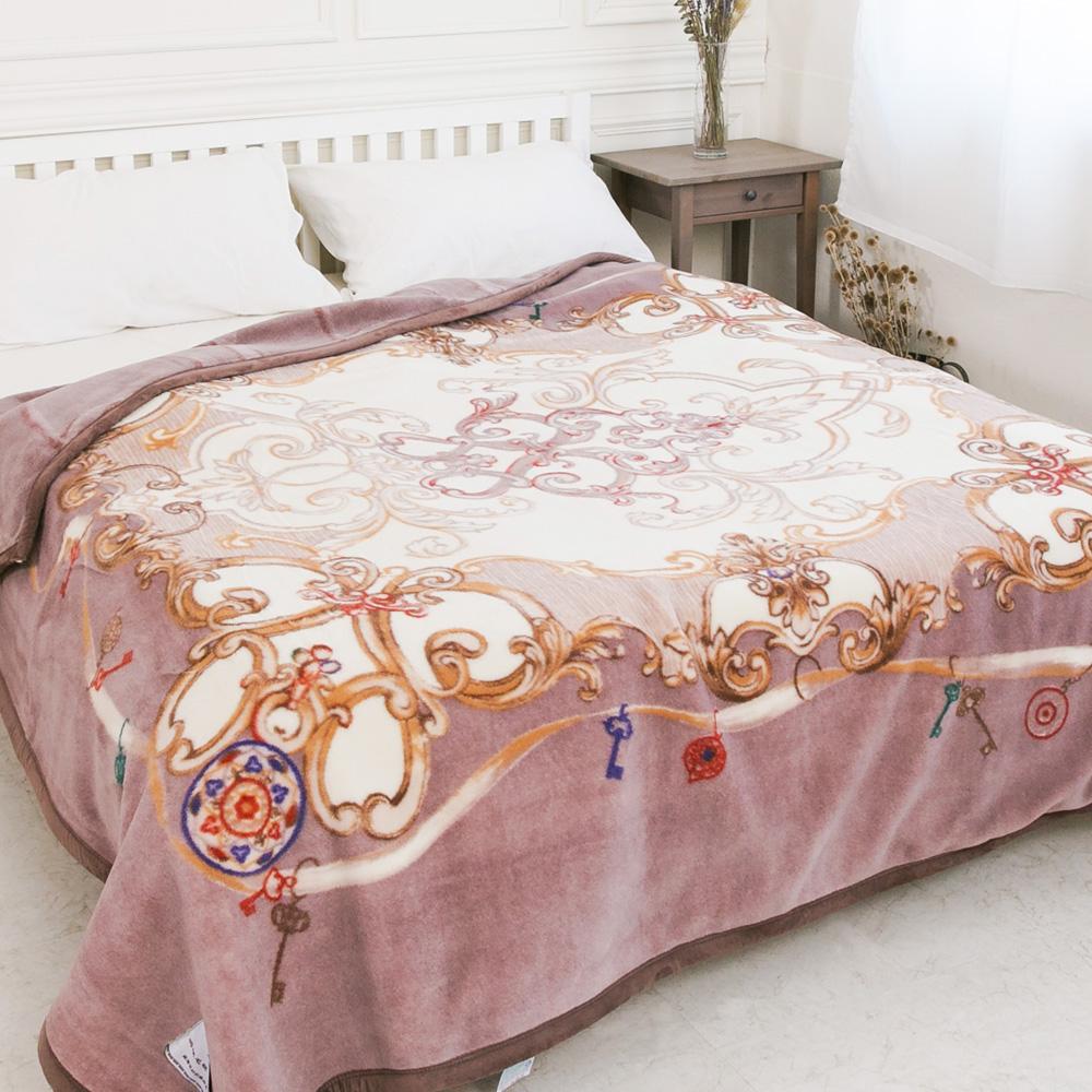 米夢家居-鳴球100%澳洲美麗諾雙層純羊毛毯(200*230CM)紫芋情緣(4公斤)