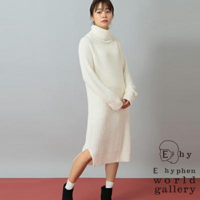 E hyphen 素面高領側開衩針織洋裝
