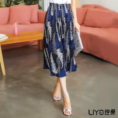 LIYO理優印花圖騰百褶長褲裙(黑)