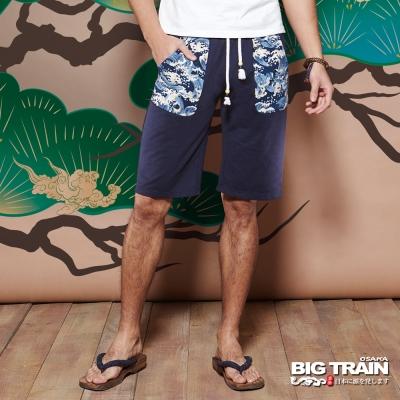 BIG TRAIN 和柄棉質短褲-男-深藍