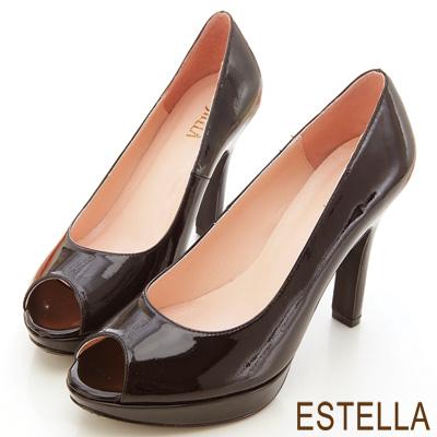 ESTELLA-玩美女伶-MIT牛漆皮魚口厚底高跟鞋-黑