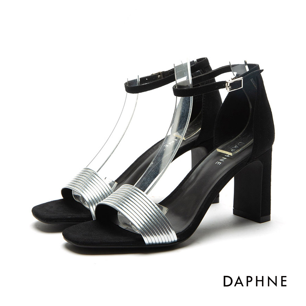 達芙妮DAPHNE 涼鞋-金屬撞色多重環紋一字高跟涼鞋-銀