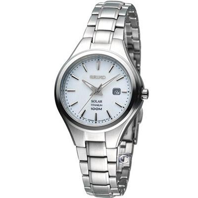 SEIKO 精工 Solar 簡約【鈦】時尚腕錶(SUT199P1)-白/30mm