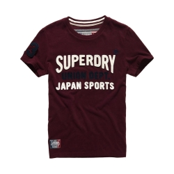 SUPERDRY 極度乾燥 短袖 文字T恤 酒紅色系