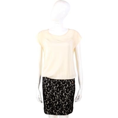 CLASS roberto cavalli 米黑色蕾絲拼接緞面洋裝