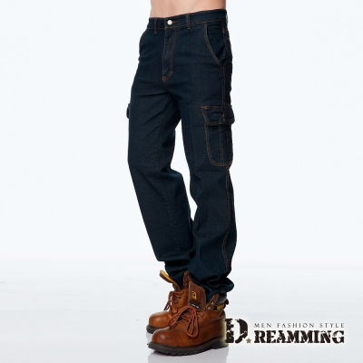 Dreamming美式伸縮多口袋直筒牛仔工作褲-黑色