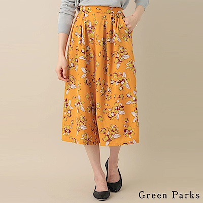 Green Parks 花卉印花後鬆緊腰寬褲