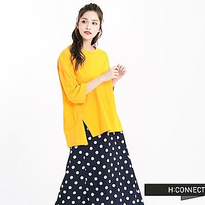 H:CONNECT 韓國品牌 女裝 -V線條露背純色T-Shirt-黃