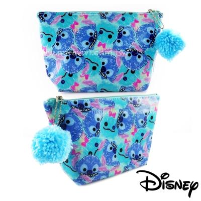 Disney迪士尼精緻造型毛球TsumTsum防水化妝包/收納包-史迪奇
