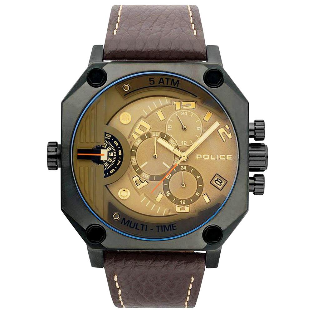 POLICE 冷冽科技雙時區皮革手錶-金X鐵灰框/50mm