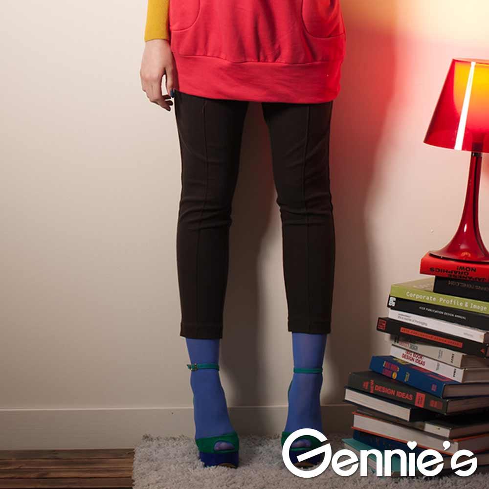 【Gennie's奇妮】時尚個性百搭棉質孕婦七分褲-咖 (G4401)