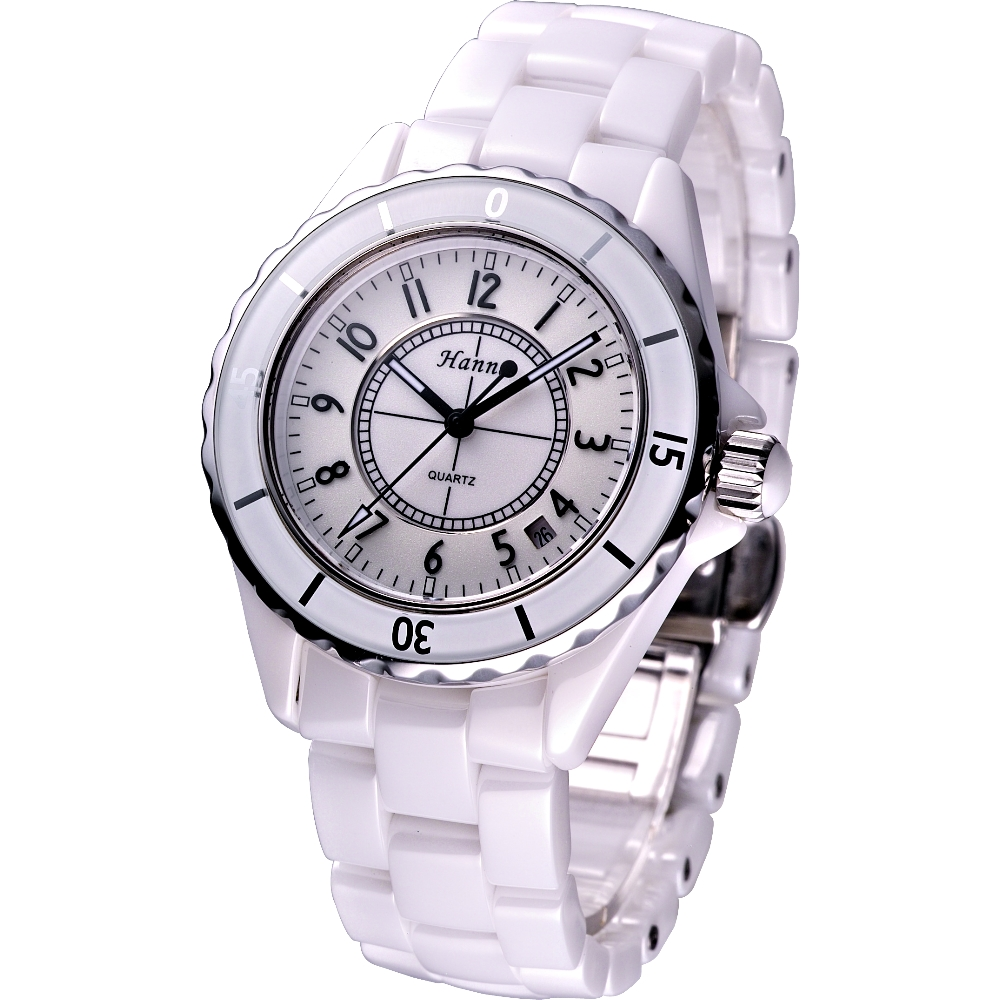 Hanna 法式情人全陶瓷石英腕錶-白