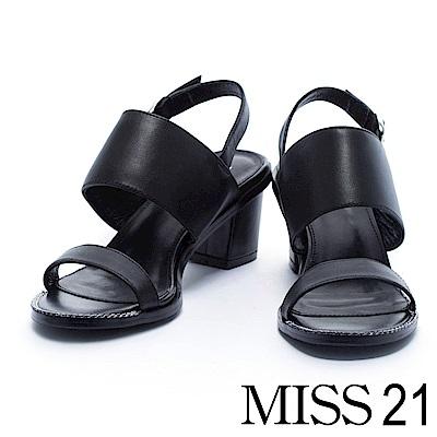 涼鞋 MISS 21 俐落質感純色寬帶牛皮低跟涼鞋-黑