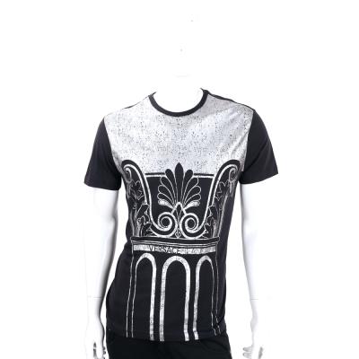 VERSACE 銀色圖騰印花棉質短袖T恤