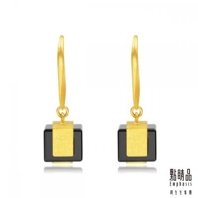 點睛品Emphasis 黃金耳環- g* collection -方形黑玉髓