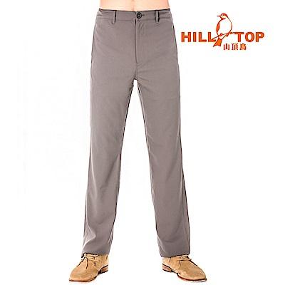 【hilltop山頂鳥】男款吸濕排汗抗UV彈性長褲S07MB0-貓灰