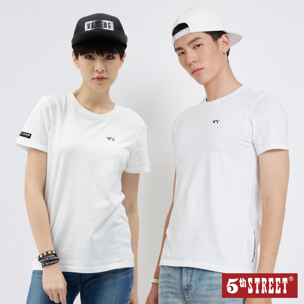 5th STREET 基本袋花圓領短袖T恤-中性-白色