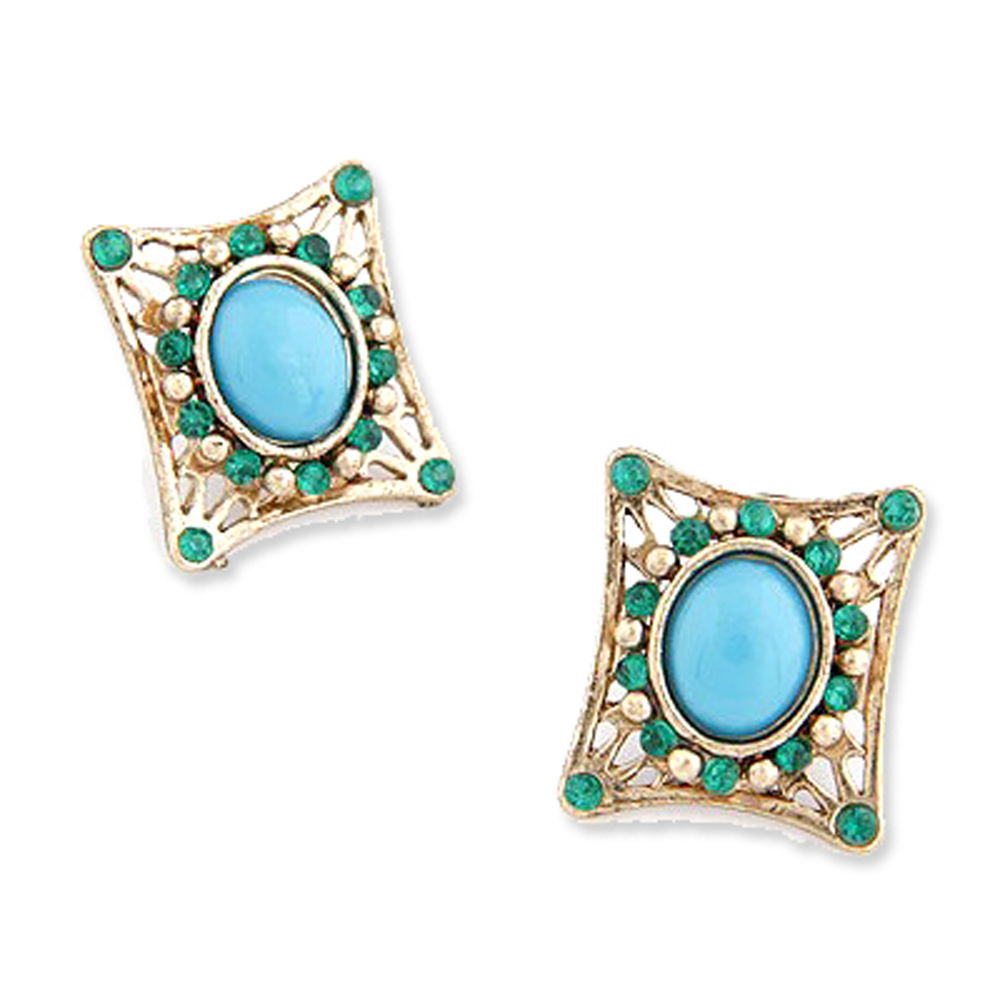 【Aimee Toff】維也娜古典方狀藍寶石耳環