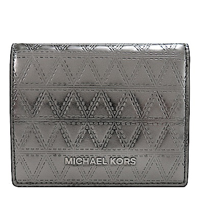 MICHAEL KORS Metallic金屬菱格銀字短夾(鐵灰)
