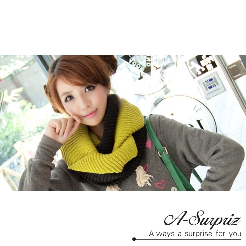 A-Surpriz 時尚大方雙色針織脖圍巾(黑黃)