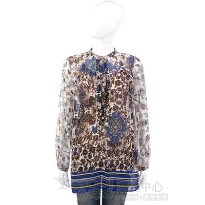 MARELLA 咖啡/藍色印花紗質長袖上衣