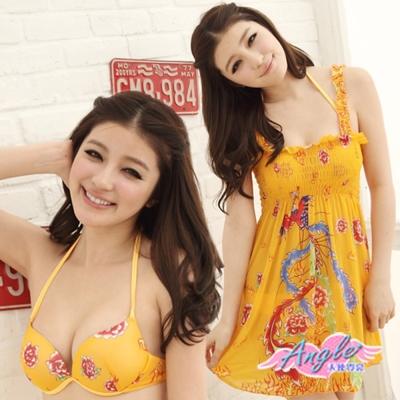 泳衣-中國鳳凰花漾-三件式鋼圈比基尼泳裝-黃M-L