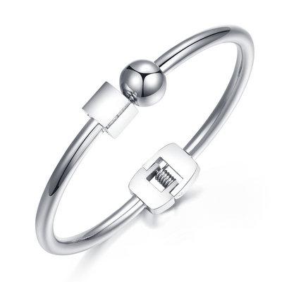 ACUBY-鋼製方圓之間手環-白K